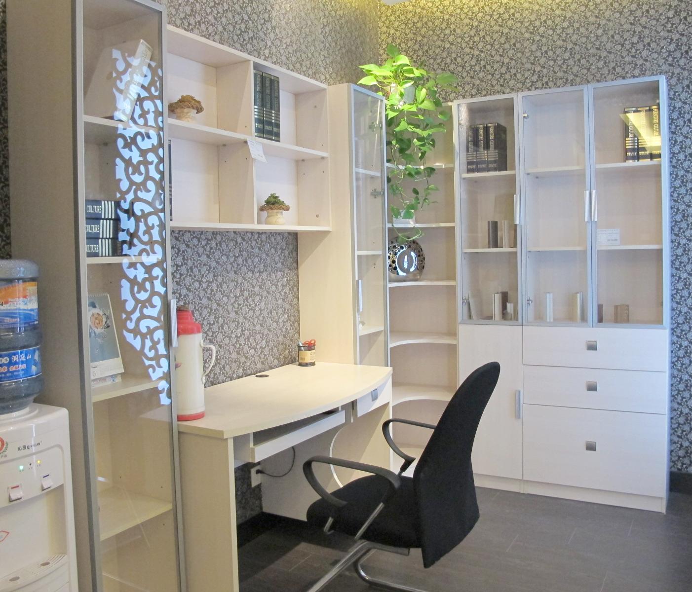 好莱客整体衣柜 定制书桌 连体书桌 百叶门书柜