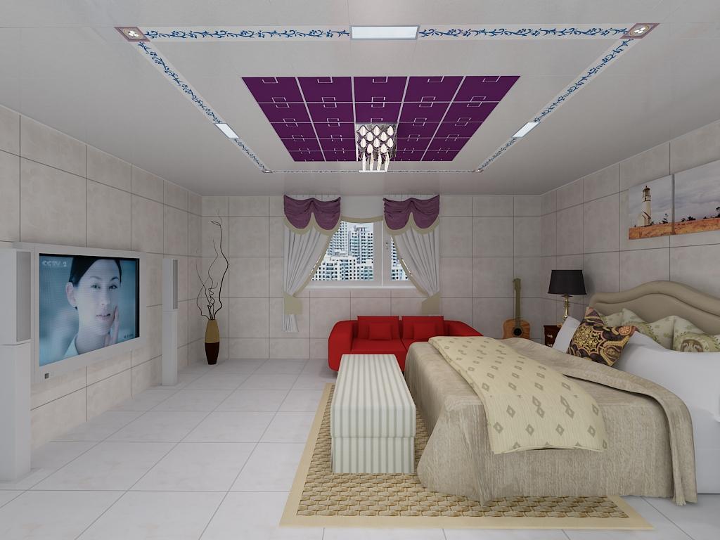 法狮龙时尚卧室10平米水晶灯吊顶